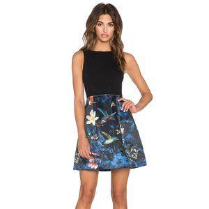 Alice and Olivia Alejandra Bird Print Dress